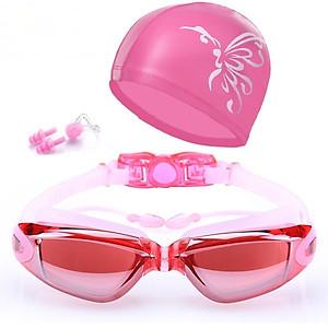 Hình đại diện sản phẩm Bộ kính bơi mắt tráng GƯƠNG 6615 - gồm Mũ bơi, Bịt tai kẹp mũi cao cấp - POKI