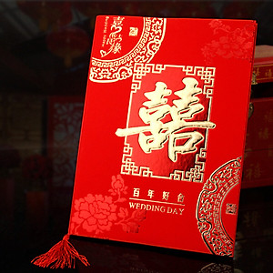Hình đại diện sản phẩm Ke Liying wedding supplies sign in this wedding creative gift book gift book guest book marriage signature book Chinese bookkeeping book love knot concentric