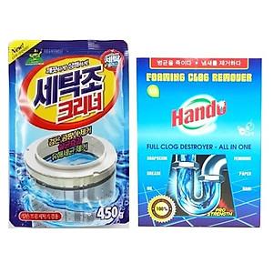 Hình đại diện sản phẩm Combo gói bột tẩy vệ sinh lồng máy giặt Hàn Quốc 450g Kèm Bột thông cống Hando 100g xuất khẩu