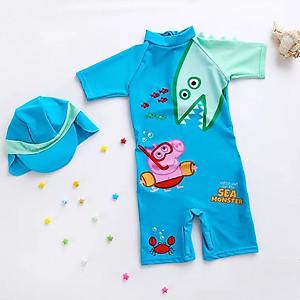 Hình đại diện sản phẩm Bộ bơi liền cộc xanh khủng long kèm mũ che gáy cho bé từ 2 đến 8 tuổi