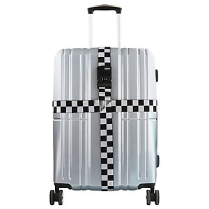 Hình đại diện sản phẩm Nolansendi NOLANSEND cross code lock packing belt travel luggage tied with trolley case cross tied with checked baggage box packing belt NL-6614 checkered black and white