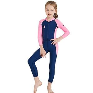 Hình đại diện sản phẩm Bộ bơi liền dài than tay hồng bé gái từ 2 đến 11 tuổi