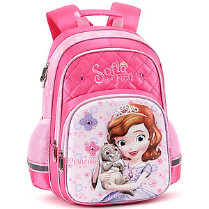 Hình đại diện sản phẩm Disney primary school bag girl girl 1-3-4 grade Sophia princess girl burden shoulder backpack SM11575 rose red