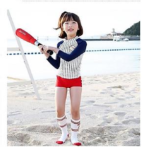 Hình đại diện sản phẩm Bộ bơi dài tay bóng chày bé gái kẻ trắng xanh than từ 2 đến 6 tuổi