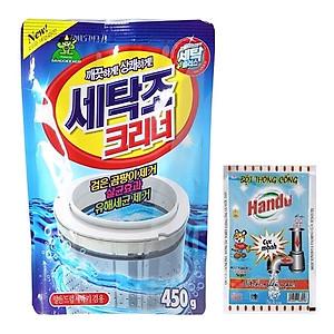 Hình đại diện sản phẩm Combo gói bột tẩy vệ sinh lồng máy giặt Hàn Quốc 450g Kèm Bột thông cống Hando 100g nội địa