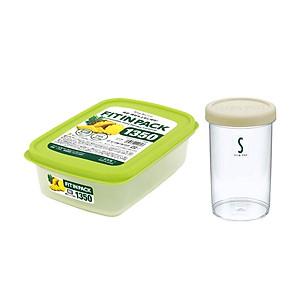 Hình đại diện sản phẩm Combo Hộp đựng thực phẩm: Hộp nhựa đựng thực phẩm Fitin Pack nắp dẻo+ Hộp nhựa đựng thực phẩm hình tròn 680ml- nội địa Nhật Bản