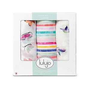 Hình đại diện sản phẩm Lulujo Baby Canada brand baby towel newborn bamboo cotton towel baby hug baby bath towel 3 combination 120*120 LJ136 sea navigation