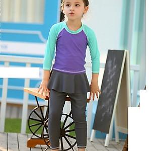 Hình đại diện sản phẩm Bộ bơi Vivo dài rời tím tay xanh quần chân váy từ 2 đến 10 tuổi