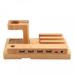 All in 1 Bamboo Charging Stand Holder 4 USB for Apple Watch iWatch 38mm 42mm for iPhone 6 6S 6 Plus 6S Plus Samsung