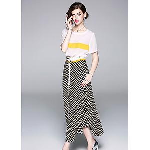 Hình đại diện sản phẩm Set áo và chân váy dạo phố đẹp kiểu set váy 2 món công sở kèm thắt lưng rời GOTI1152295