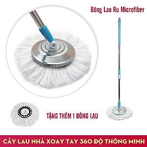Hình đại diện sản phẩm Cây Lau Nhà Xoay Tay 360 Độ Nắp Inox Fujishi Mop 360 - Xanh Dương + Tặng 01 Bông Lau