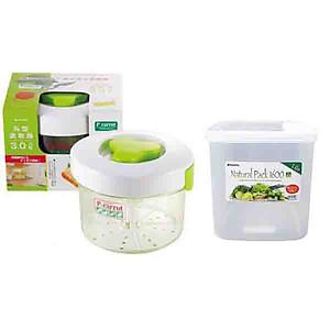 Hình đại diện sản phẩm Combo hộp muối dưa cà 3L + hộp đựng thực phẩm 1,6L - Tặng hộp đựng mì ống nội địa Nhật Bản