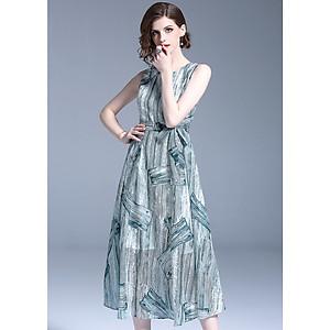 Hình đại diện sản phẩm Đầm xòe dạo phố đẹp kiểu đầm xòe dáng dài in ván gỗ cột eo GOTI1023295