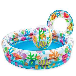 Hình đại diện sản phẩm Bể bơi phao tròn 3 tầng kèm bóng và phao bơi cho bé