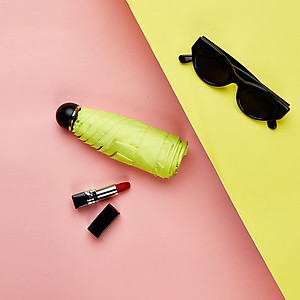Hình đại diện sản phẩm JUST MODE Sun umbrella black plastic umbrella folding UV mini pocket umbrella sunscreen umbrella umbrella female lipstick umbrella
