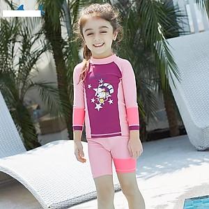 Hình đại diện sản phẩm Bộ bơi tím hồng dài tay quần cộc (2 - 10 tuổi)