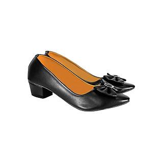 Giày Gót Vuông Đính Nơ ShopNCC 5DE - Đen