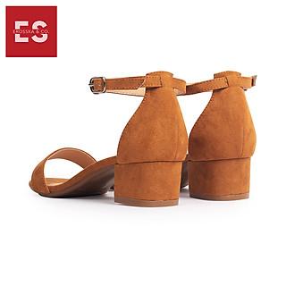 Giày Nữ, Giày Cao Gót Vuông Erosska Da Lộn Bít Gót Dây Mảnh Màu Nâu EB001