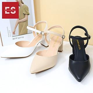 Giày cao gót Erosska thời trang mũi nhọn phối dây hở gót cao 5cm EK001