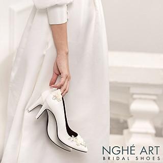 Giày cưới Nghé Art cao gót đính hoá lụa trắng 224