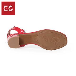 Giày Cao Gót Thời Trang Phối Quai Trong Đế Vuông Erosska EM015 (Màu Đỏ)