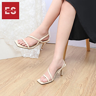 Giày sandal cao gót Erosska thời trang mũi vuông quai ngang phối dây tinh tế cao 7cm EB022