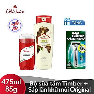 Bộ sữa tắm Old Spice Timber 475ml + Sáp lăn khử mùi Old Spice Original 85g [Tặng kèm Dao cạo Gillette Vector]