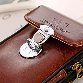 Túi đựng điện thoại da PU bóng đeo ngang hông kiểu dọc T5 có khóa gài - Túi đeo thắt lưng giả da PU bóng kiểu dọc - đen, nâu.