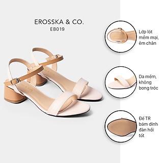 Giày sandal cao gót Erosska thời trang mũi tròn phối dây nhiều màu tinh tế cao 3cm EB019