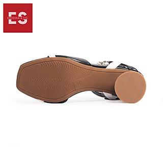 Giày cao gót thời trang Erosska đế vuông da lộn hở gót dây mảnh EB002 màu đen