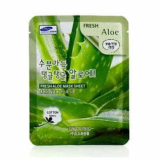 Bộ 10 gói mặt nạ dưỡng ẩm da chiết xuất nha đam 3W Clinic Fresh Aloe Mask Sheet 23ml X 10