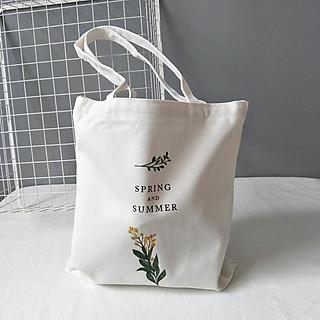 Túi tote vải bố đựng đồ canvas hinh hoa cải có hóa miệng tiện dụng dễ dàng phối đồ