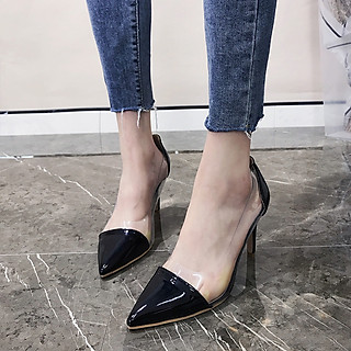 Giày Nữ, Giày Cao Gót Nữ Đi Tiệc Thời Trang, Form Đẹp Chuẩn Bít Mũi Da Bóng Trong Phối Màu 7 Cm Phong Cách Hàn Quốc PN-YNCG000148