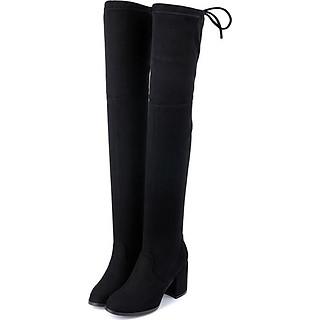 Giày bốt nữ cổ cao qua gối cao 6cm da lộn GCC1901