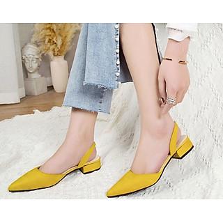Giày Sandals nữ mũi nhọn da lộn gót vuông 2cm C32