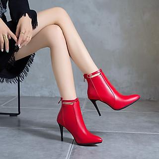 Boot nữ cổ ngắn gót nhọn màu đỏ HIỆN ĐẠI GBN6403