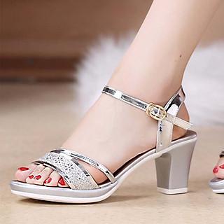 Giày Sandal Cao Gót Đế Vuông Cao 7cm Thời Trang Trẻ Trung