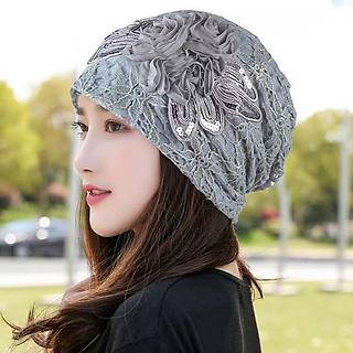 Mũ Trùm Đầu Nón Chụp Đầu Phối Ren Hoa thời trang Hàn Quốc dn20040507