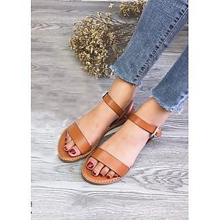 Sandal bệt Quai Mảnh đế kếp cao cấp màu bò đậm