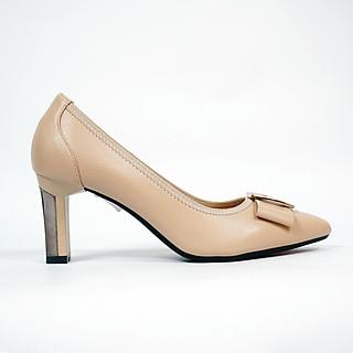 Giày cao gót nữ, cao 7CM, da Microfiber nhập khẩu cao cấp êm ái. Mũi nhọn, gót trụ bọc miếng kim loại vững :BL.P5306.7F