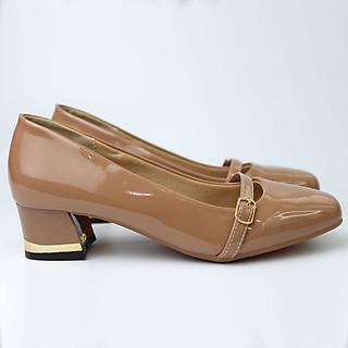 Giày nữ cao gót 3P da bóng gót viền kim loại Rozalo R6803