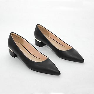 Giày Cao Gót 3cm Gót Vuông Ốp Kim Loại Mũi Nhọn Pixie X546