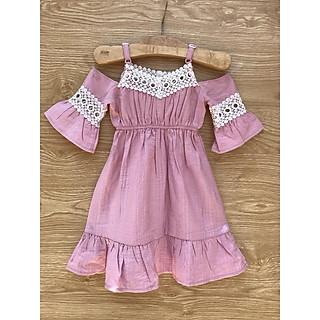 (Size 10 - 14) Đầm suông tay bèo phồng cut-out bé gái (màu HỒNG RUỐC) - REN HỒNG RUỐC