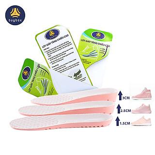 Lót giày tăng chiều cao 1.5cm, 2.5cm, 3cm với đế cao su dẻo cấu trúc tổ ong thoáng khí - Màu hồng mặt vải kem - buybox - BBPK156