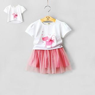 Set váy hồng xoè vải tơ sọc phối voan lưới mềm, có chip, kèm áo thun cotton trắng in mèo đính nơ, G00000610.