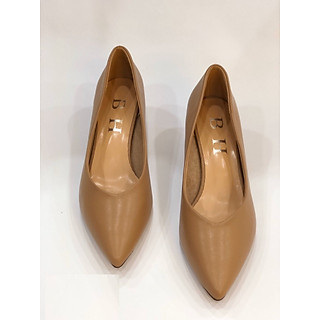giày cao gót 3 phân da thật mầu be