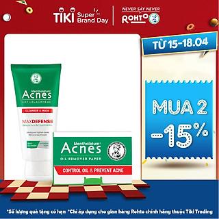 Kem rửa mặt và Mặt nạ ngăn ngừa mụn đầu đen Acnes Anti-Blackhead Cleanser & Mask (100g) + Tặng Giấy thấm dầu Acnes Oil Remover Paper (50 tờ)