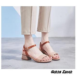 Giày cao gót nữ quai mảnh - Sandal cao gót quai mảnh gót vuông 4 phân
