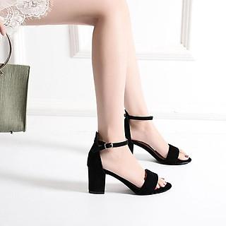 Giày cao gót nữ đế vuông 7 phân hở mũi da lộn bít gót quai ngang basic TẶNG 1 cặp lót gót giày khử mùi êm chân