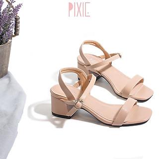 Giày Sandal Cao Gót 5cm Đế Vuông Quai Mảnh Màu Đen Pixie P133